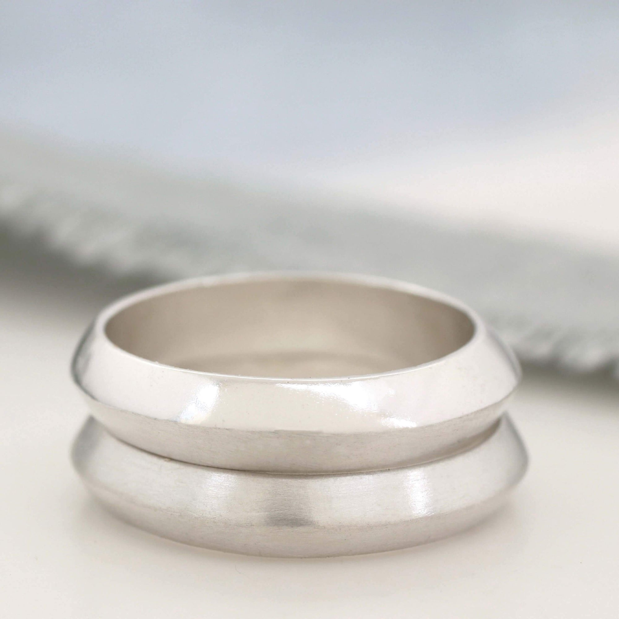 Sterling silver plain band rings. Silver wedding band