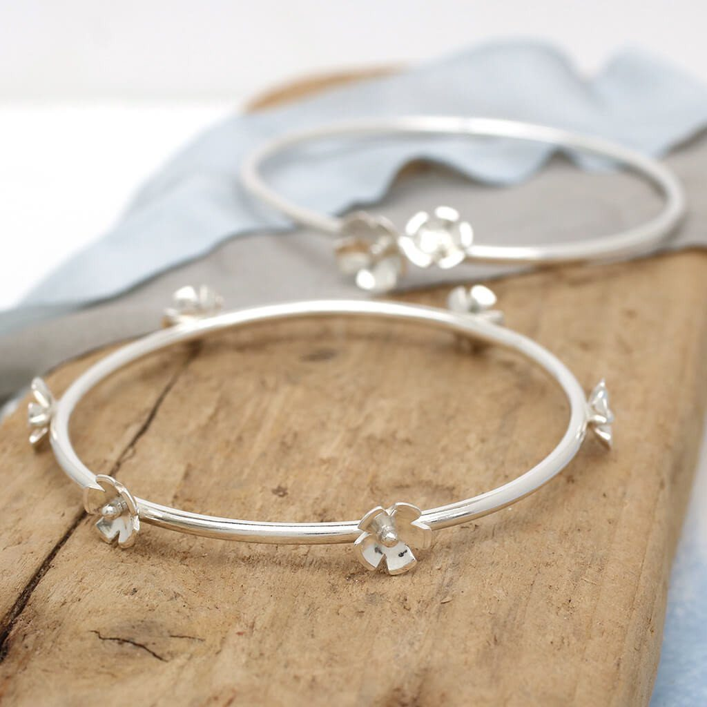 Sterling silver flower stacking bangle