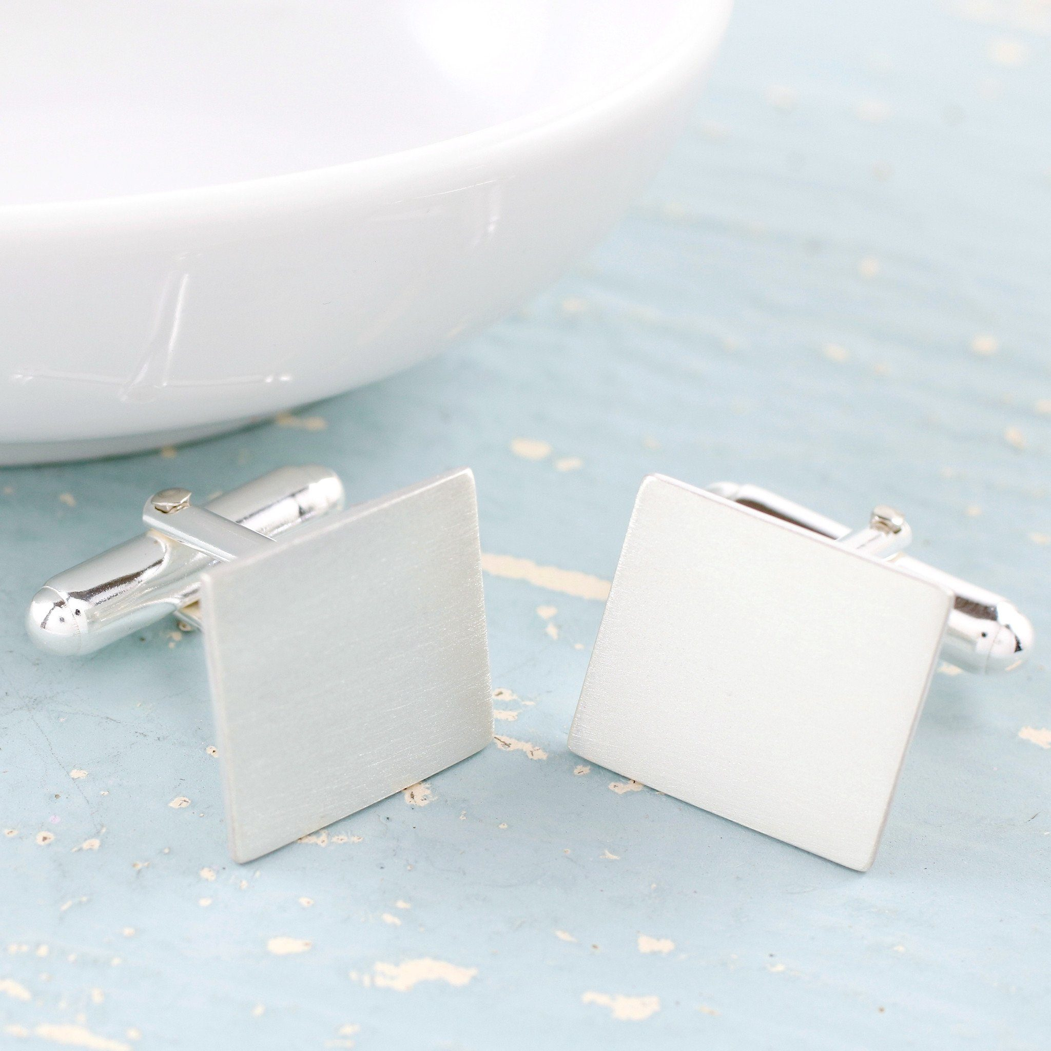 personalised silver square cufflinks