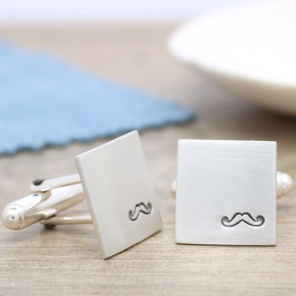Silver Moustache Cufflinks With Secret Message