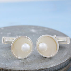 domed round silver cufflinks with pearls