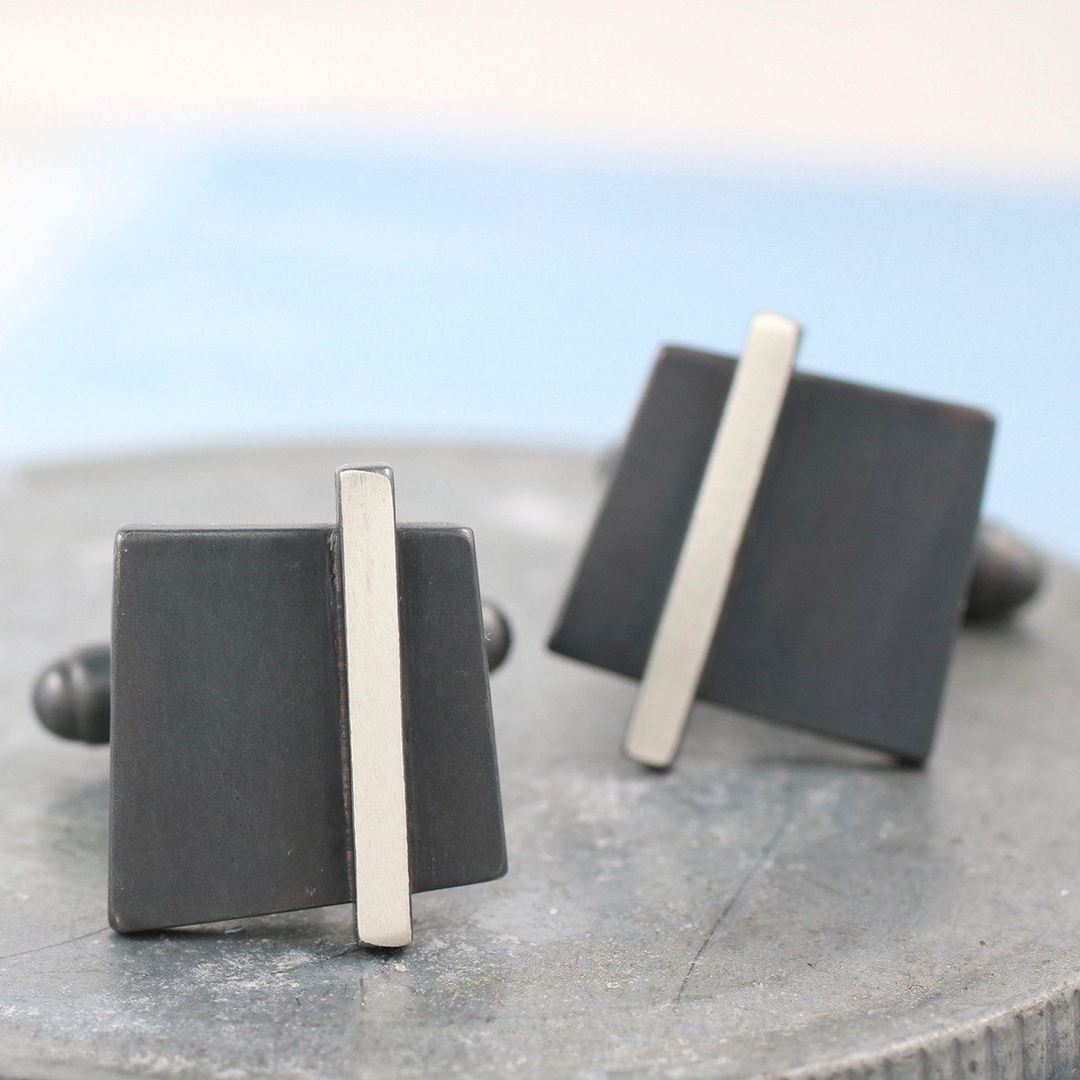 Geometric Cufflinks. Black Square Cufflinks