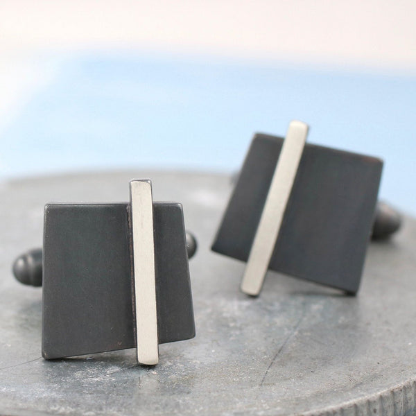 Silver Square Deco Cufflinks
