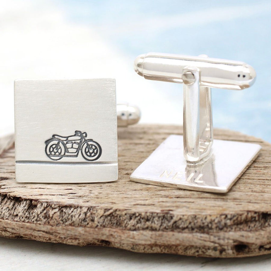 Personalised Motorbike Cufflinks. Gift For Dad