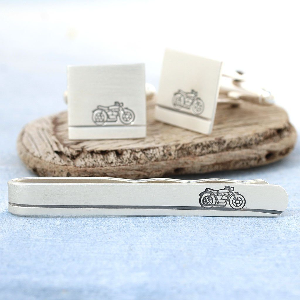 motorbike cufflinks and tie clip set
