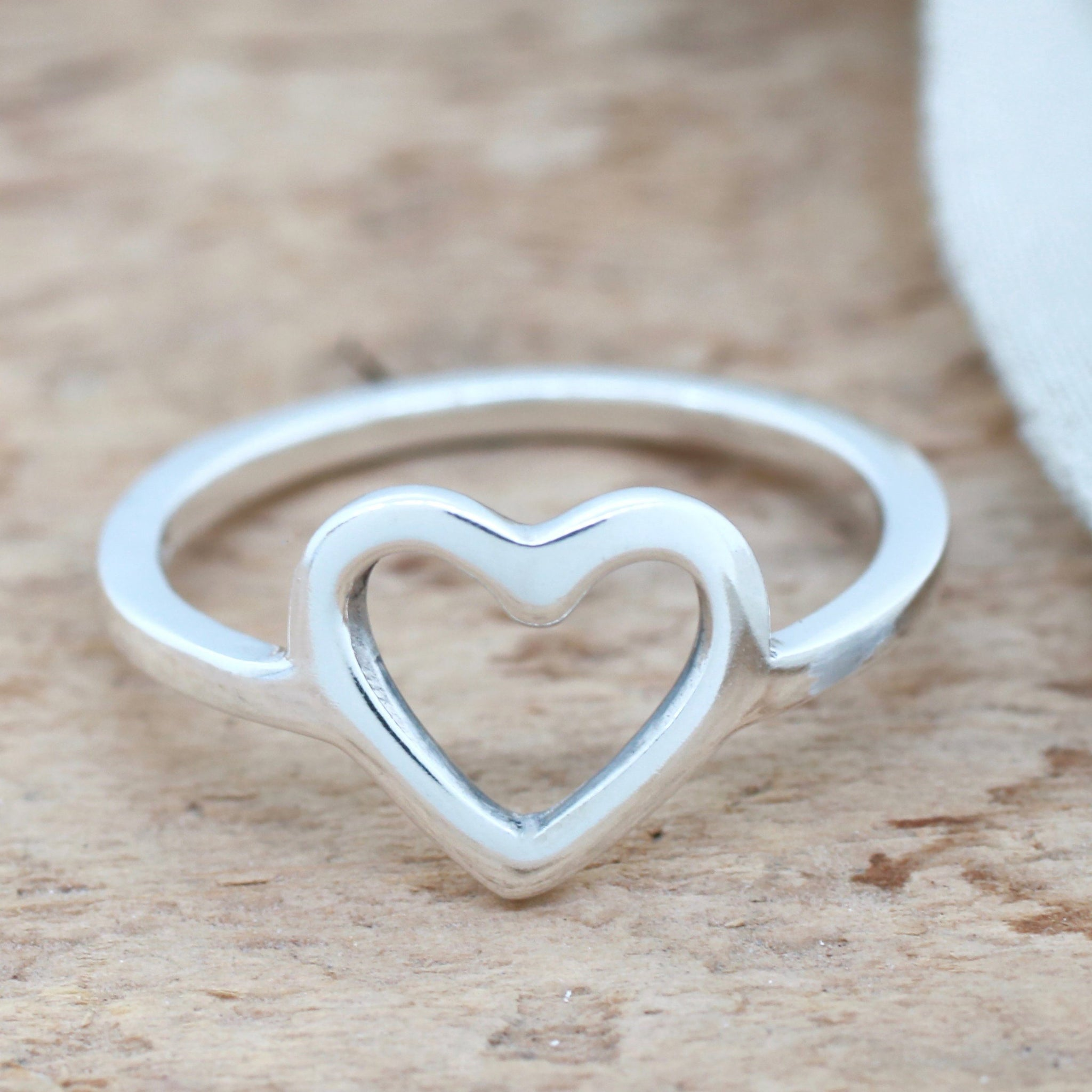 Silver Heart Ring. Geometric Ring