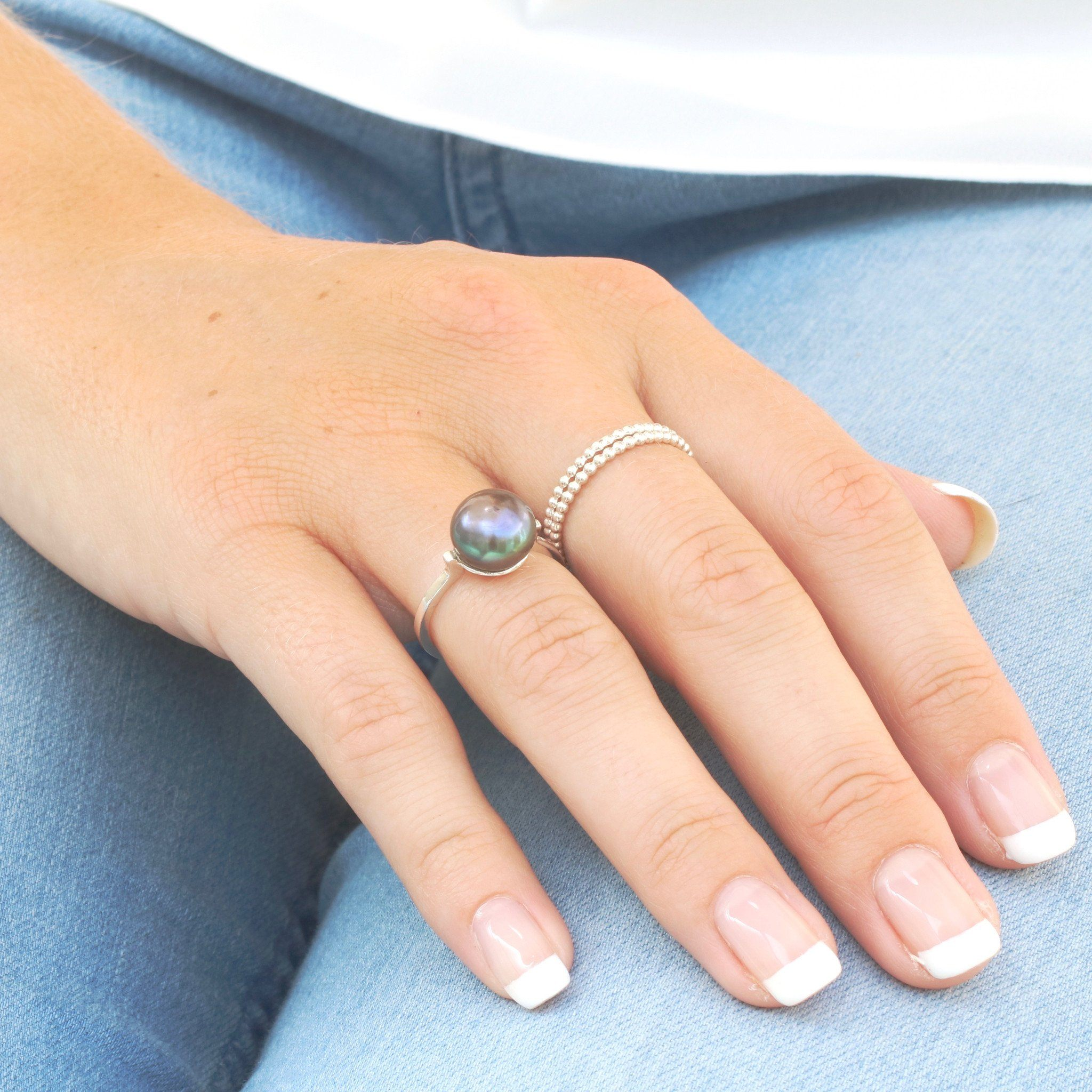 Silver Pearl Cocktail Ring