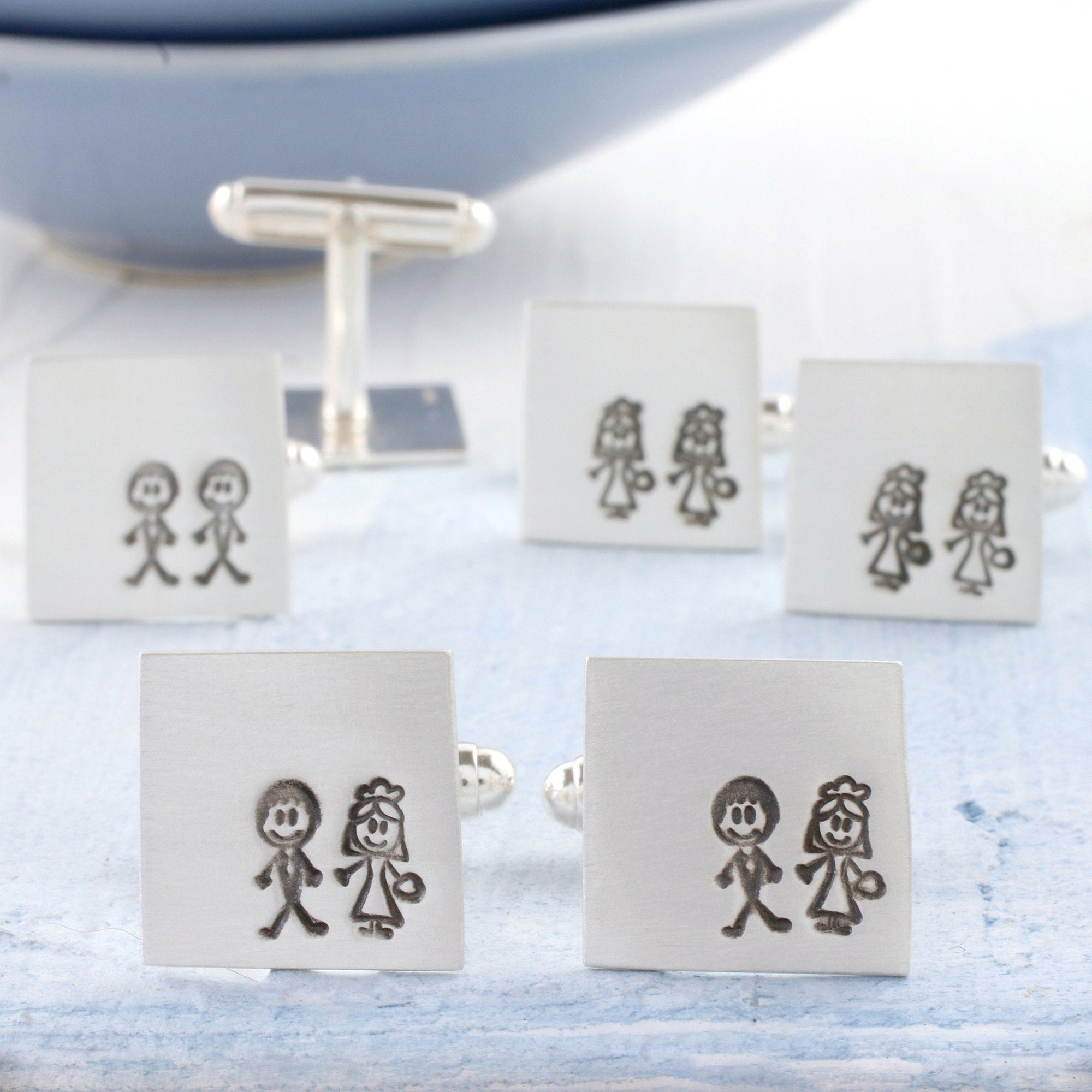 Bride And Groom Cufflinks. Wedding Gift For Groom