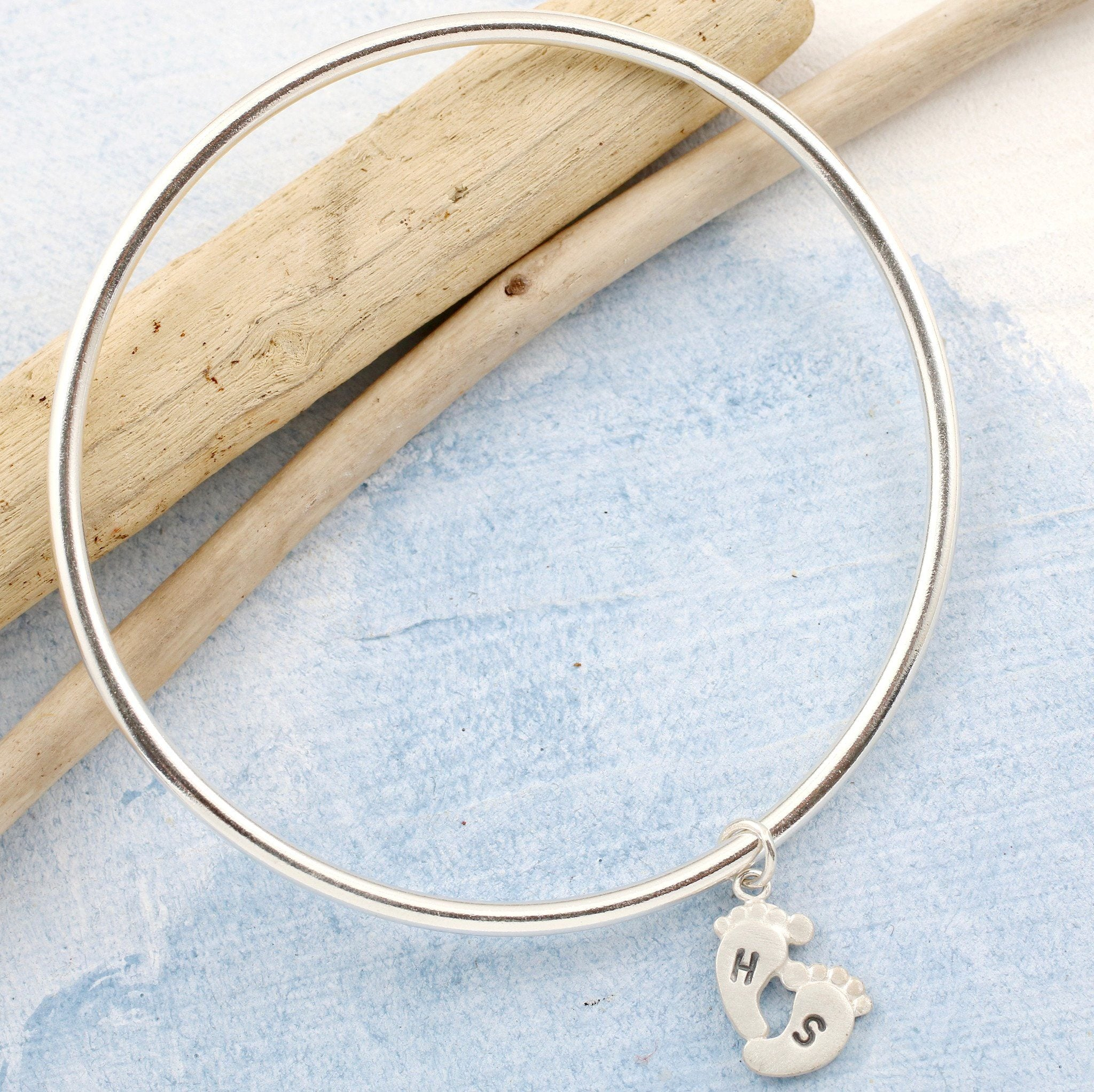Personalised Silver Foot Print Charm Bangle