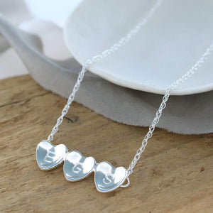 personalised three heart necklace