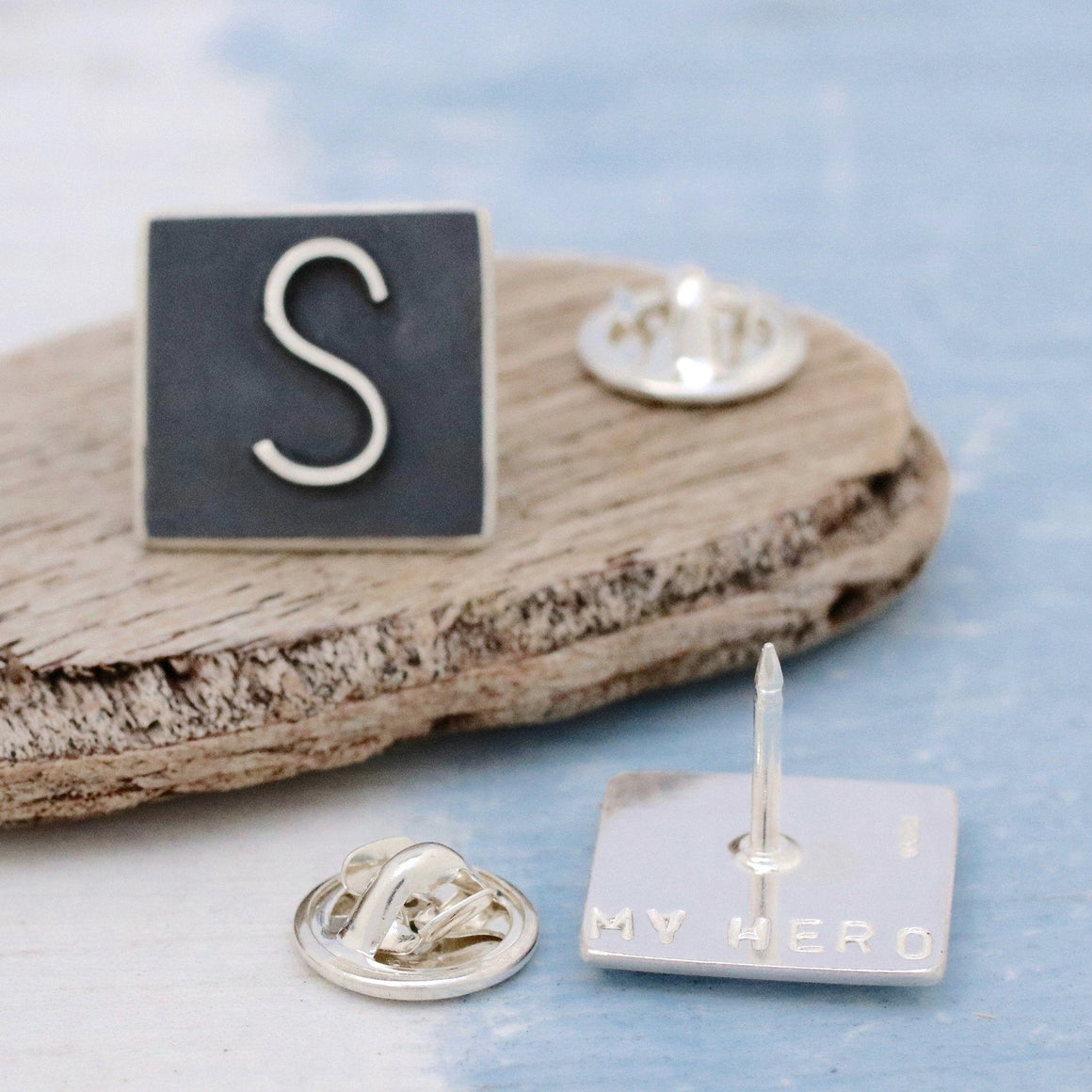 Personalised Silver and Black Initial Lapel Tie Pin