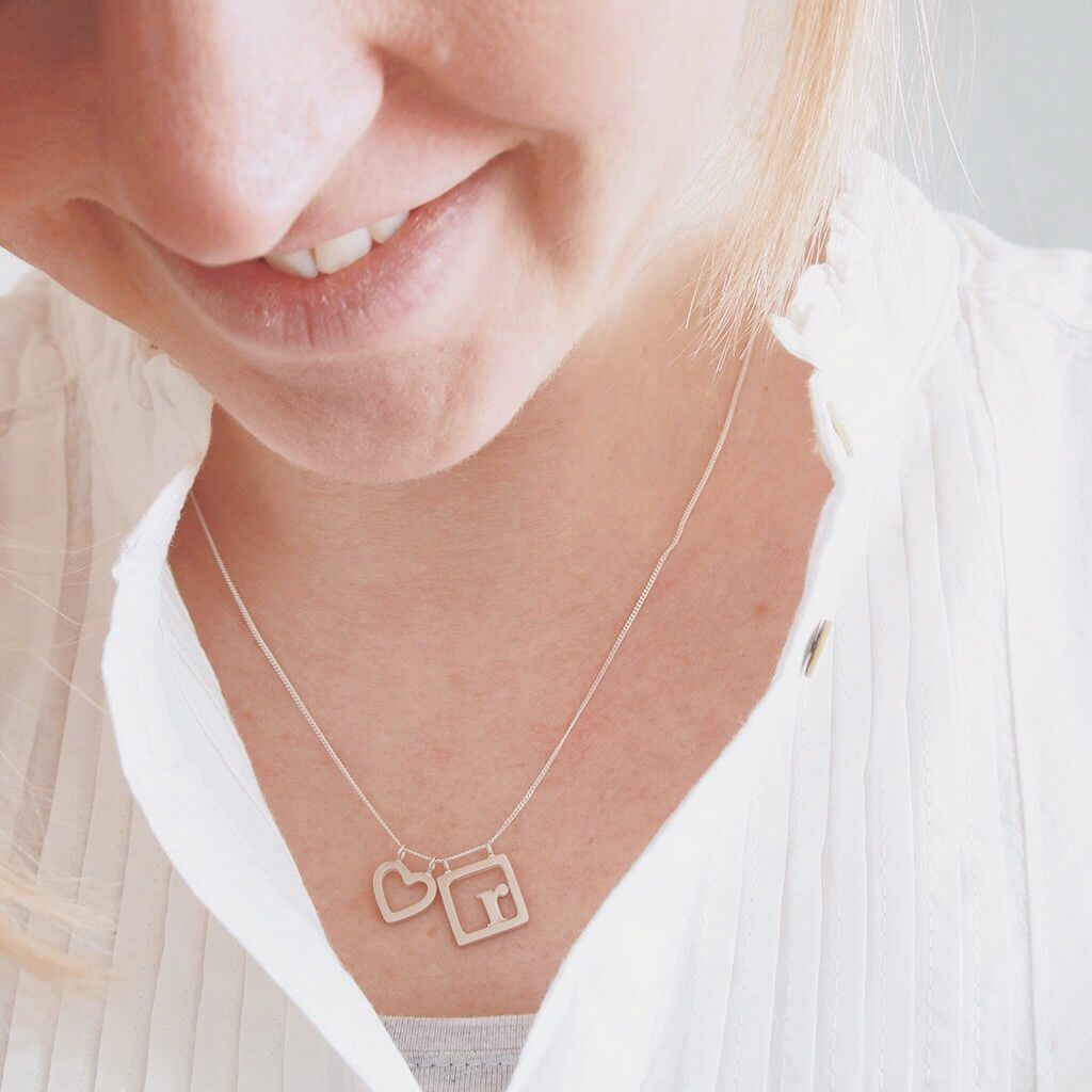 initial necklace silver uk