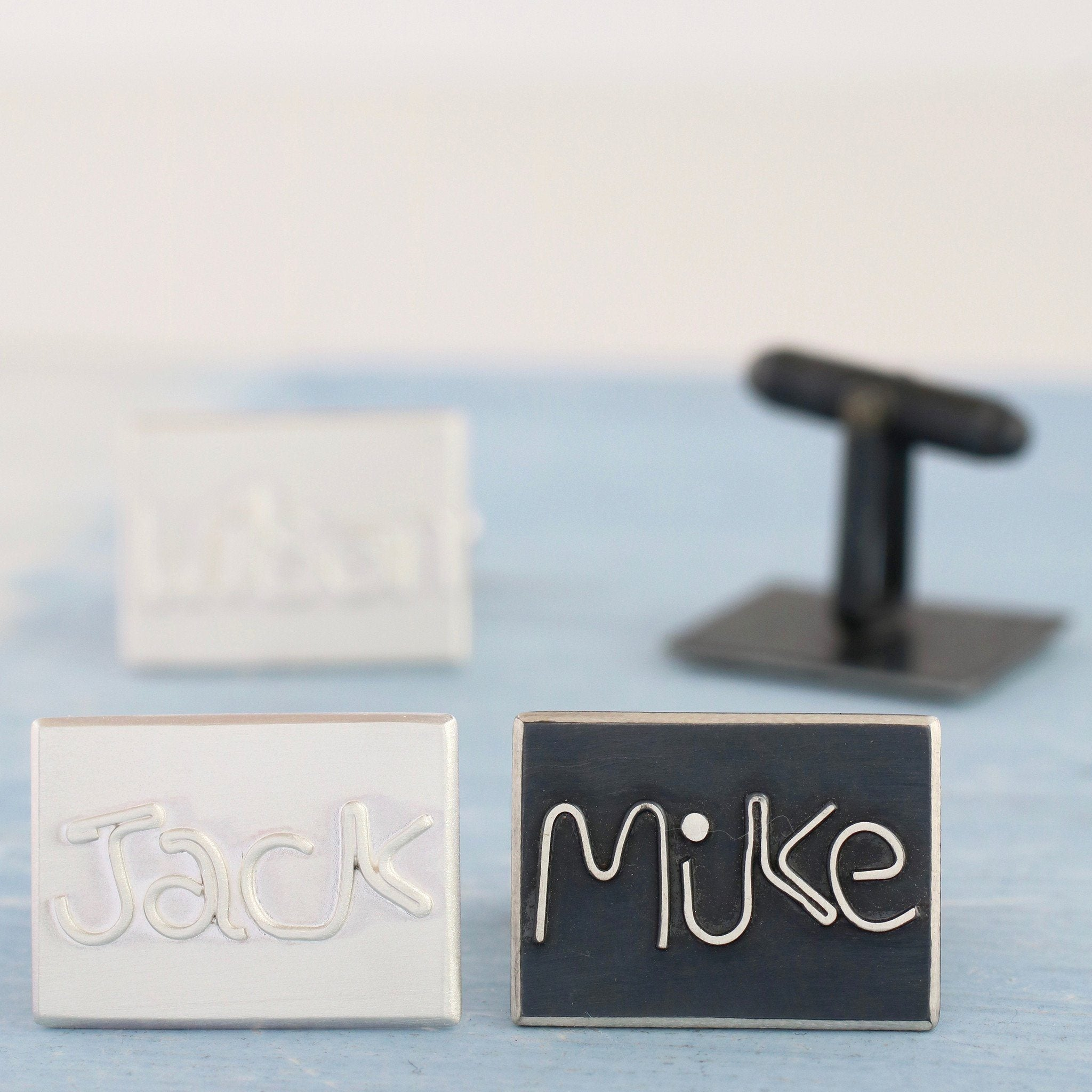 personalised sterling silver name cufflinks
