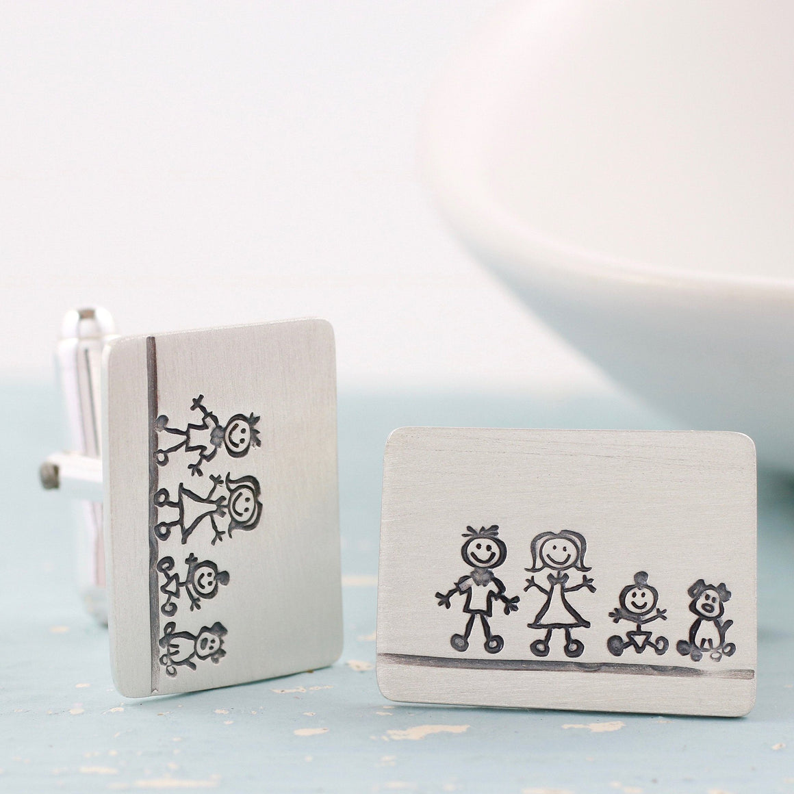 Personalised 'My Family' Silver Cufflinks