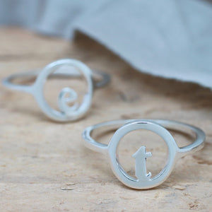 Silver Signet Ring. Personalised Initial Ring