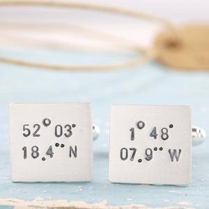 Personalised Coordinates Cufflinks.