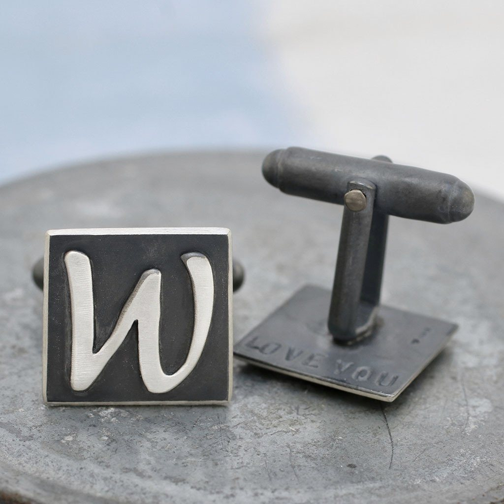 Monogram Initial Secret Message Cufflinks