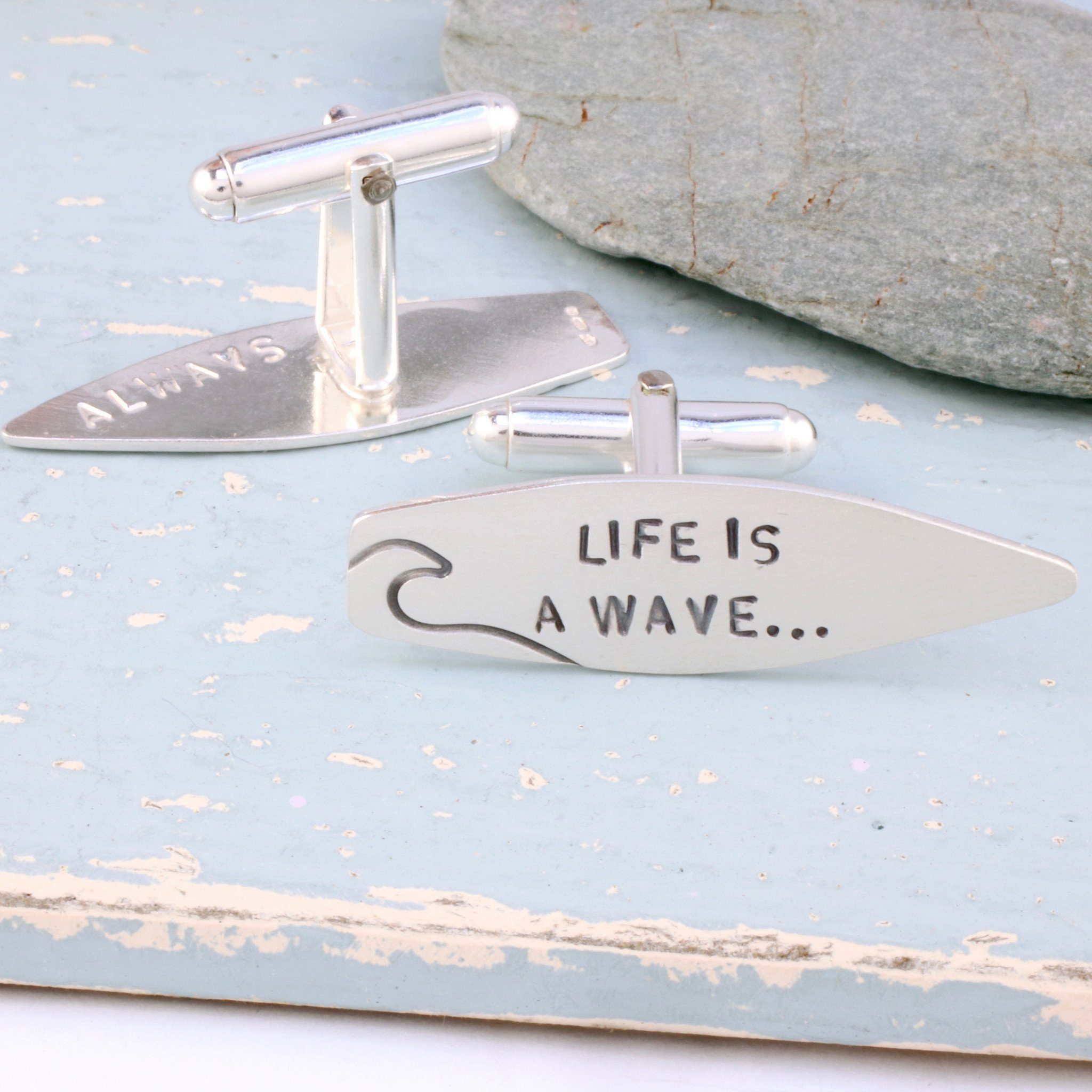 personalised surf quote cufflinks