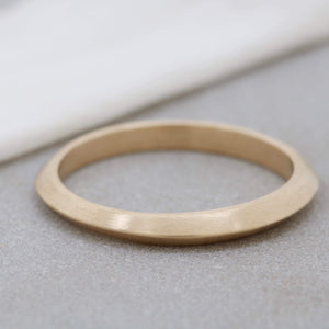 9ct Gold Ring -  Hand Carved Thin Band