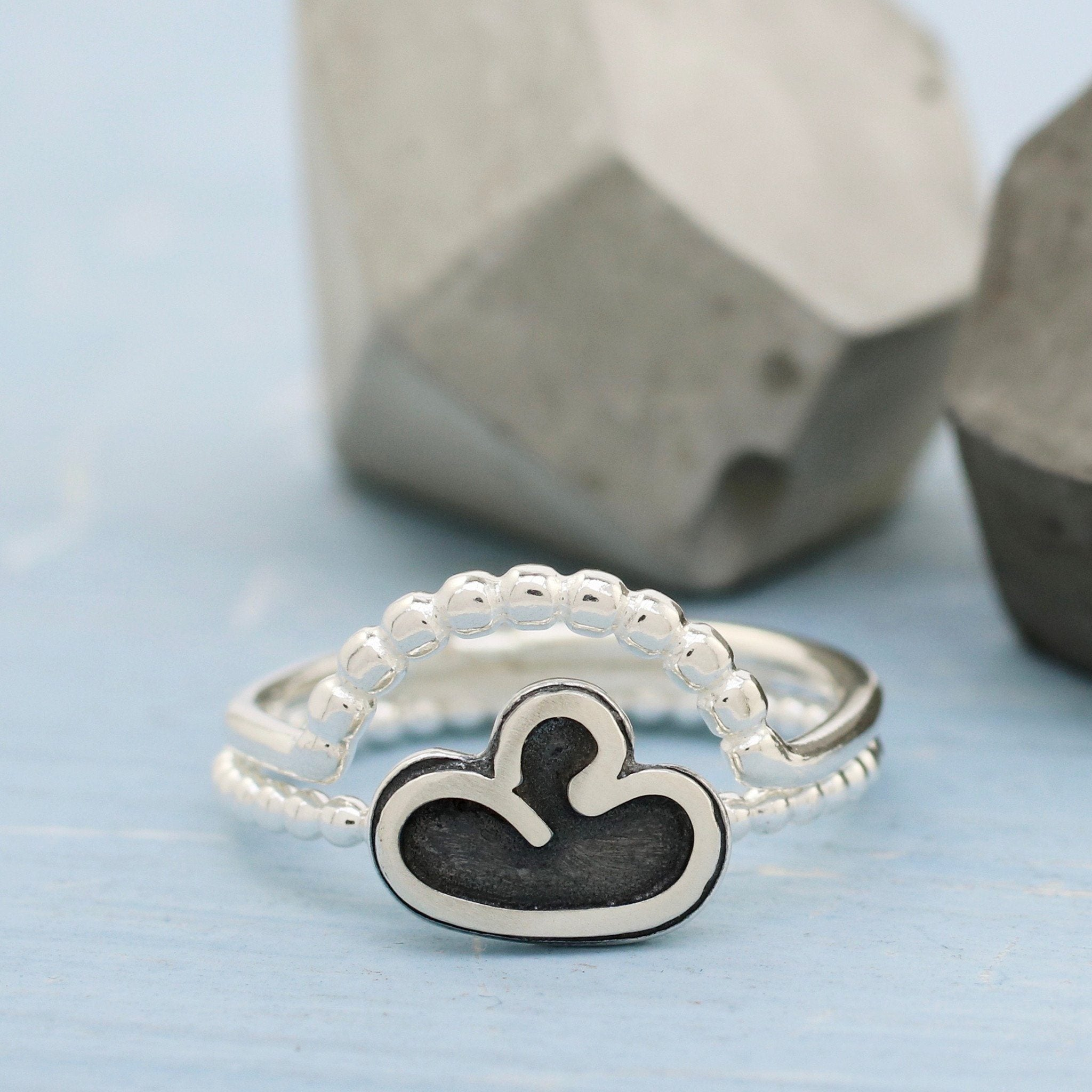 silver curved beaded ring