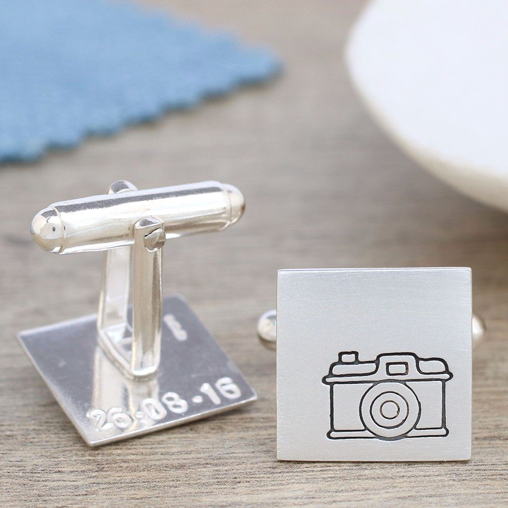 Camera Cufflinks - Personalised Secret Message