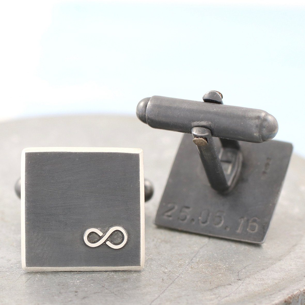 Personalised Infinity Cufflinks Tie Clip Gift Set Black