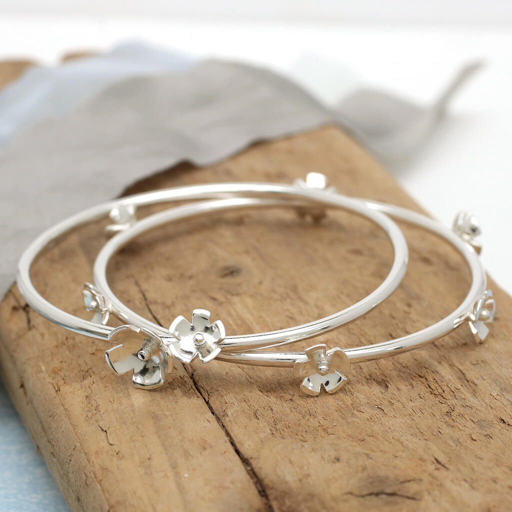 sterling silver flower bangle set