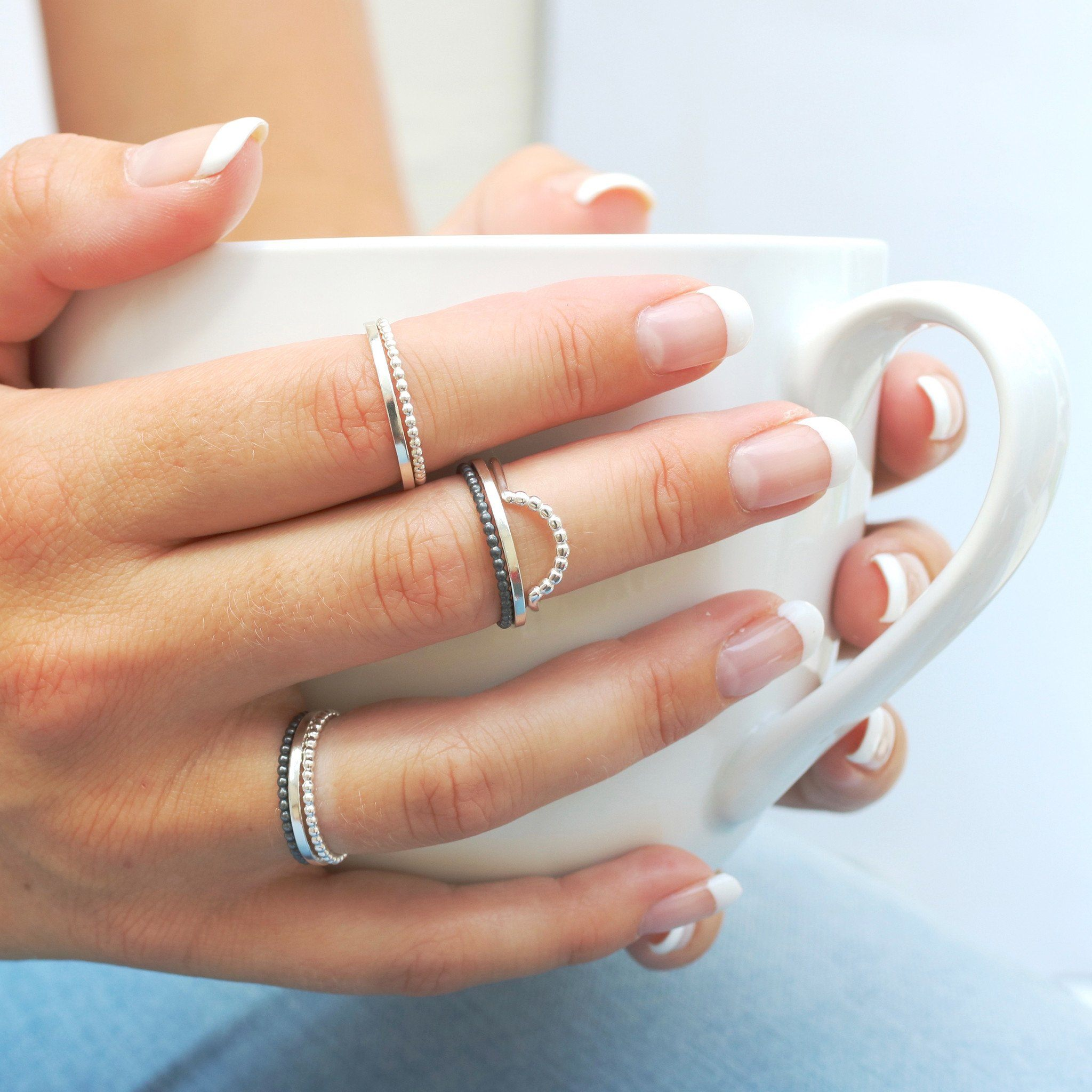 handmade sterling silver plain band rings