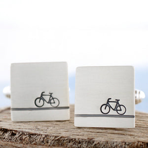 handmade silver bike cufflinks
