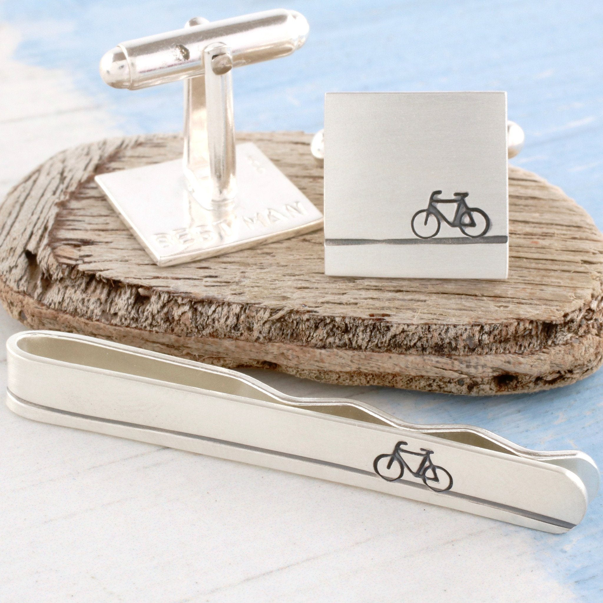 Sterling silver bike cufflinks and tie clip gift set