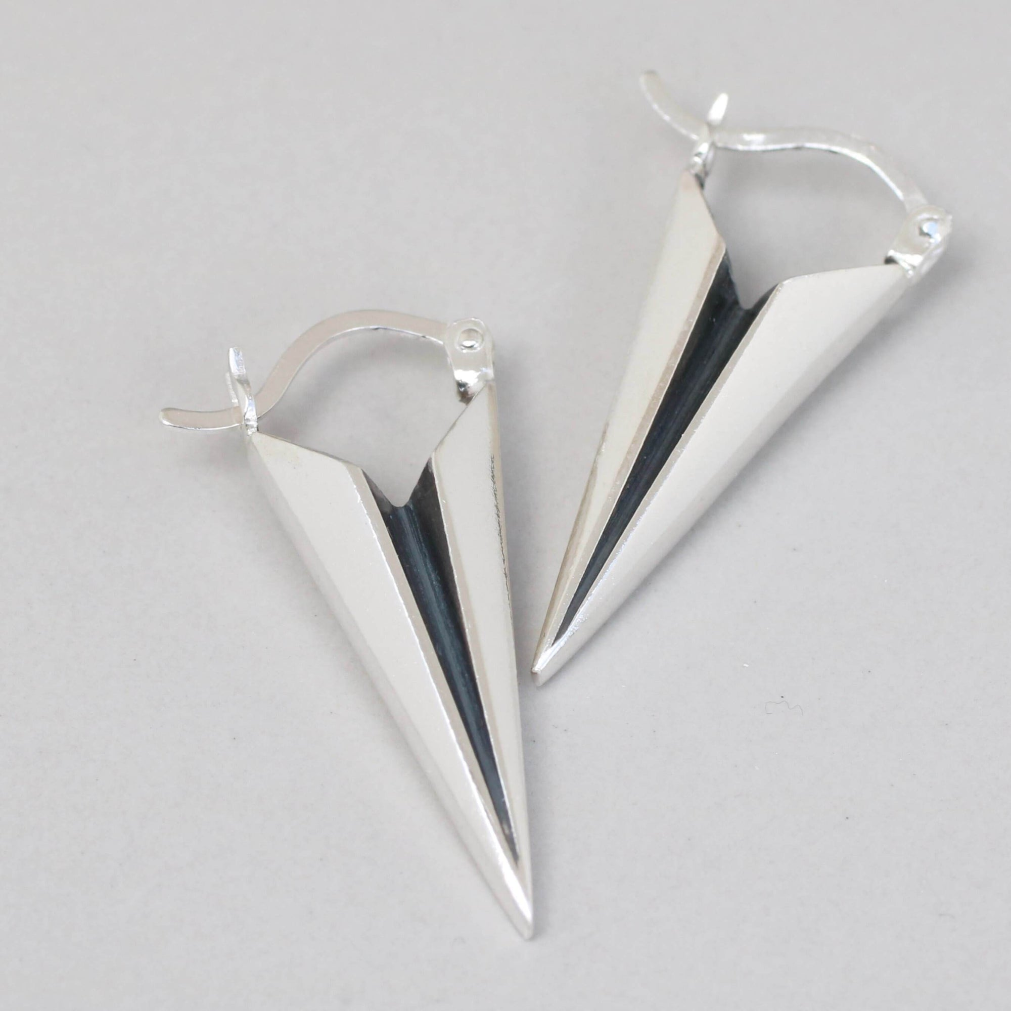 Deco Spike Earrings - Silver Creole hoops