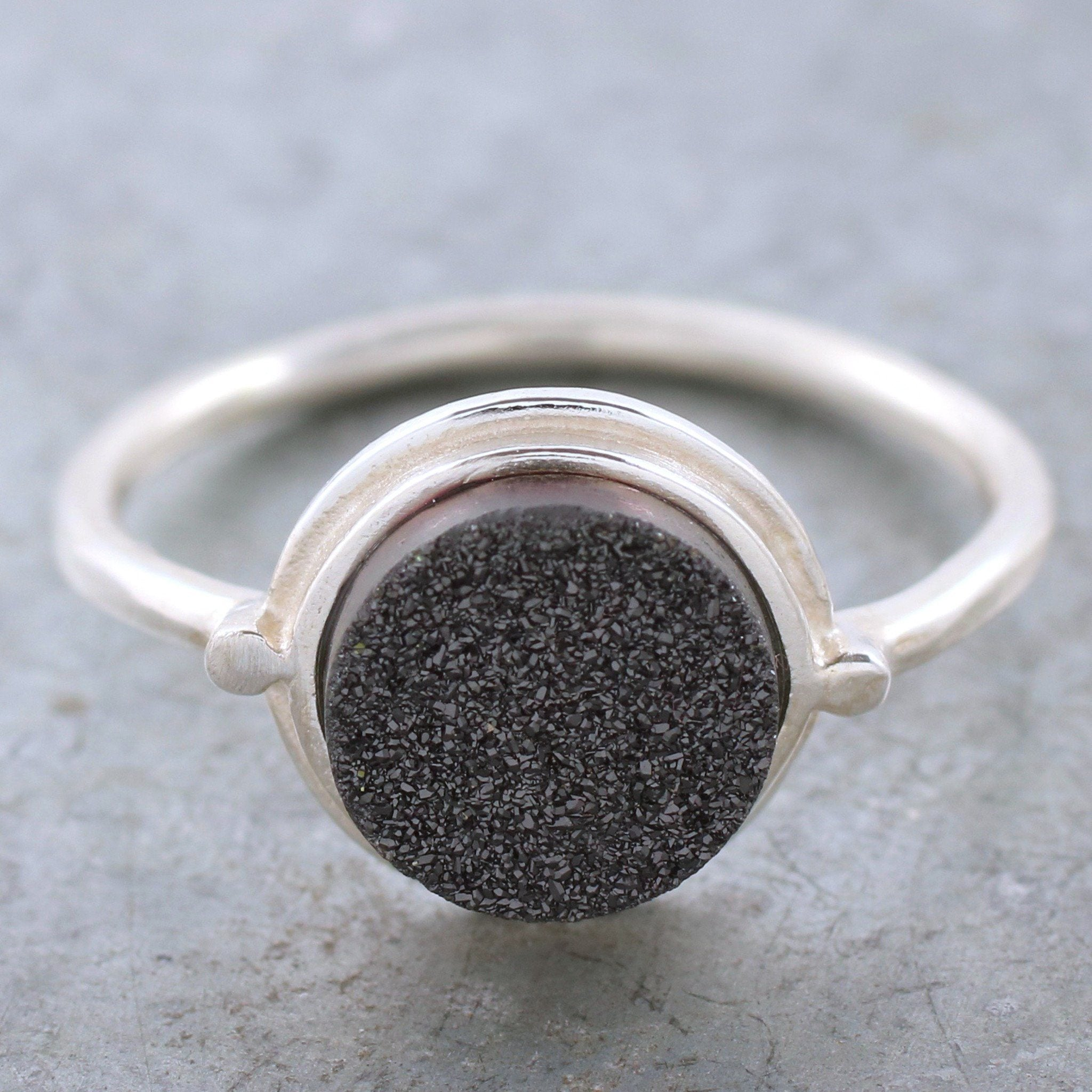 silver and black druzy ring