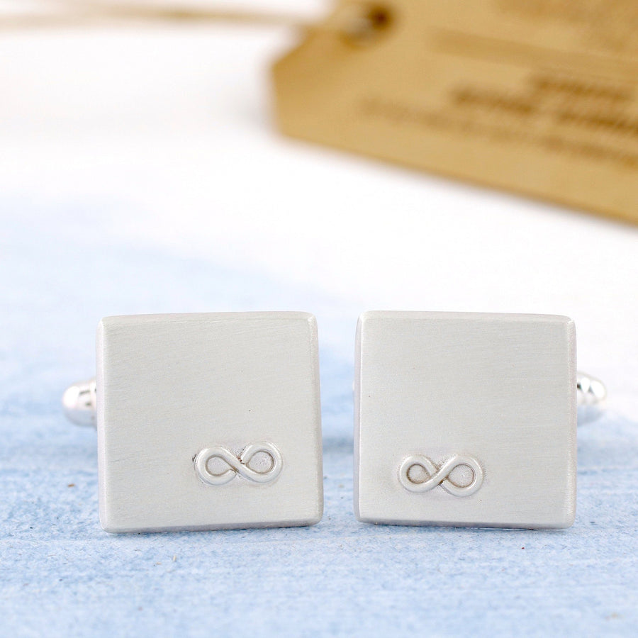 Personalised Silver Infinity Cufflink And Tie Gift Set