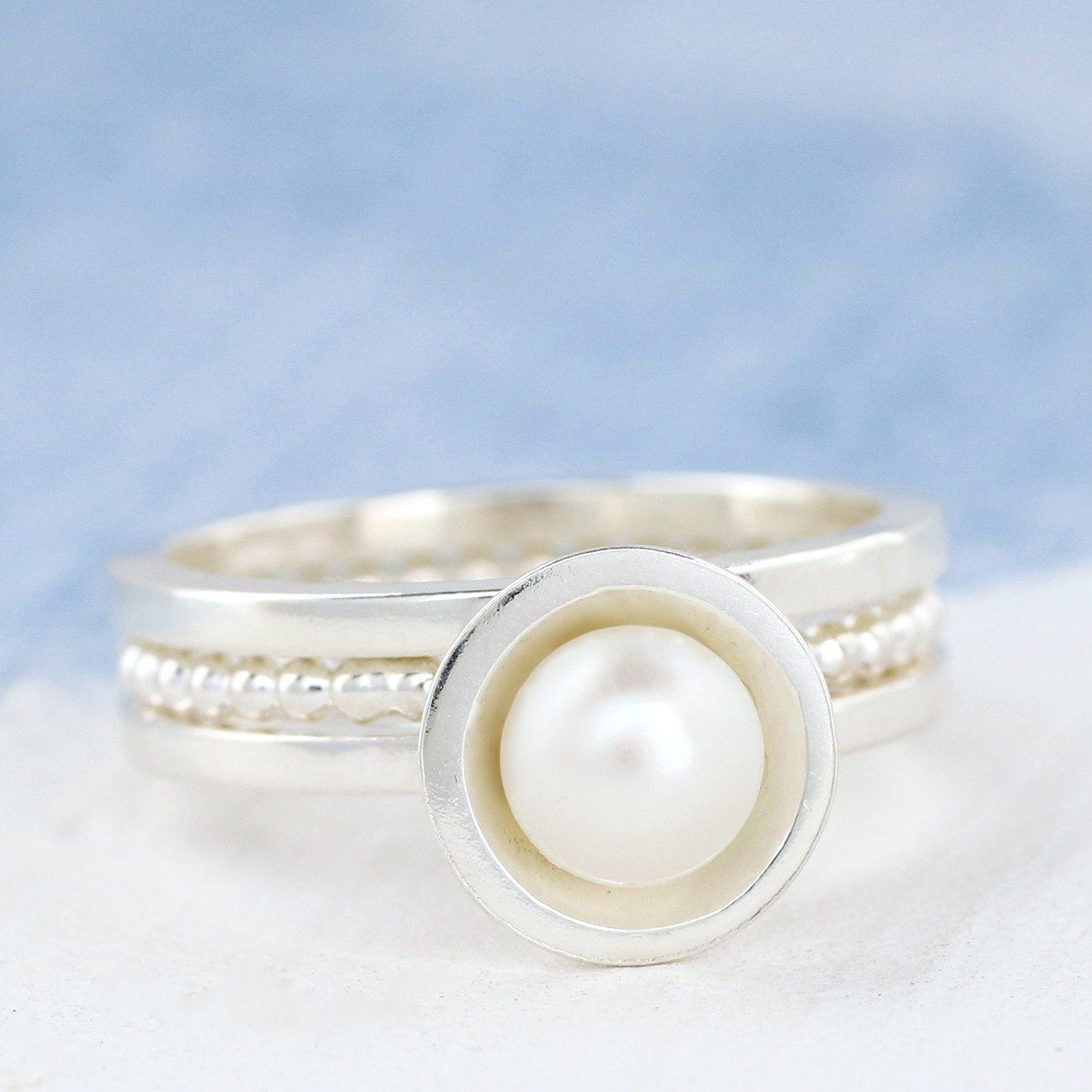 Silver Pearl Stacking Ring Set