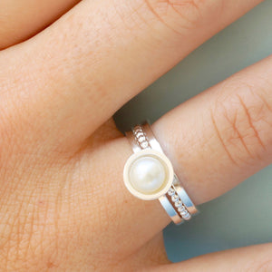 handmade silver stacking rings with pearl