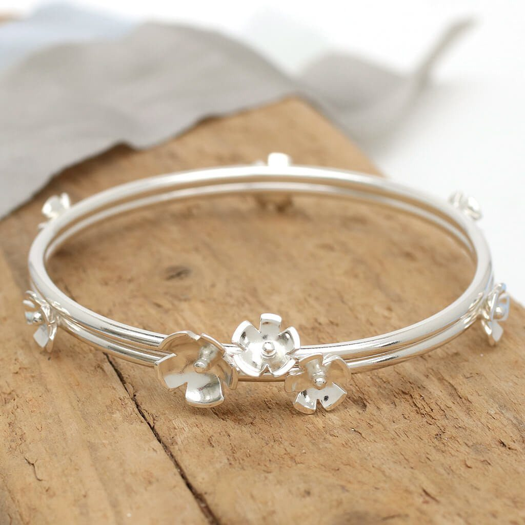 sterling silver flower bangle for mum
