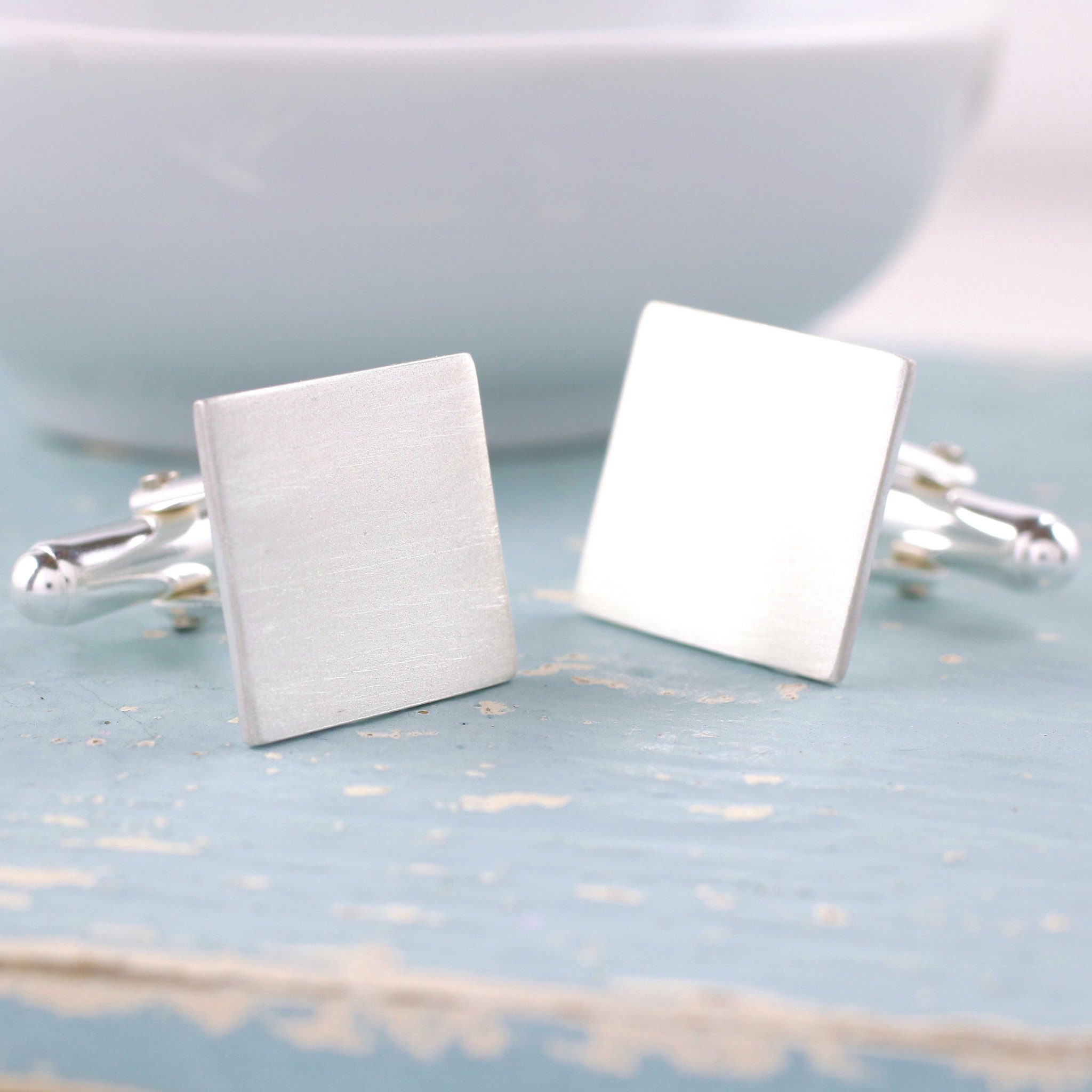 sterling silver personalised reverse cufflinks