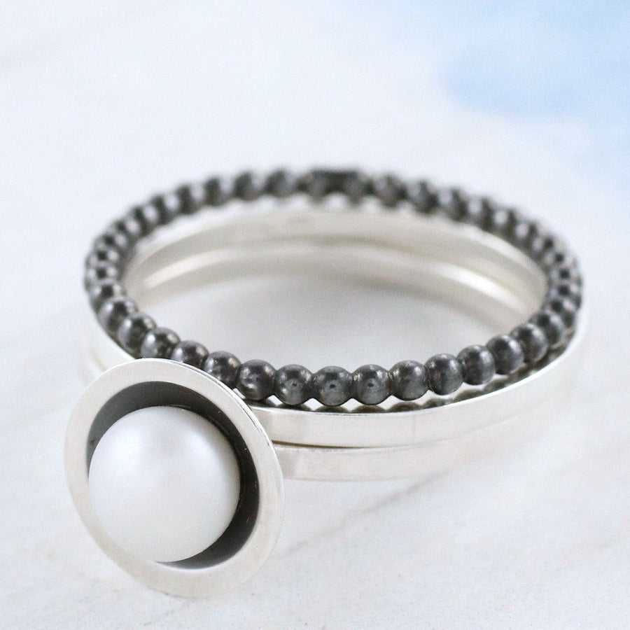 Silver And Black Pearl Stacking Ring Set