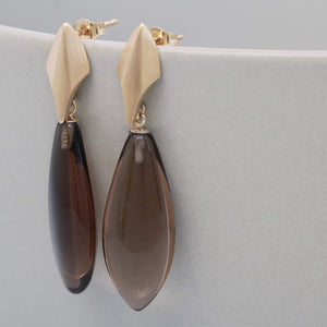 9ct Gold Deco Dropper Earrings with Smokey Quartz