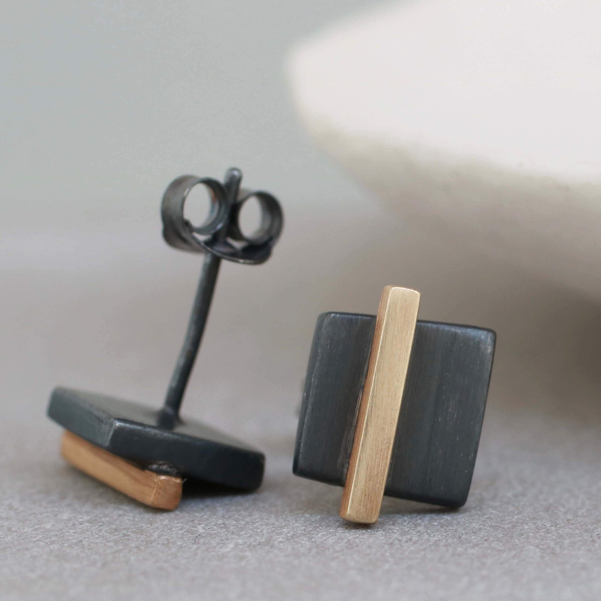 Geometric Earrings. Black And 9ct Gold Square Studs