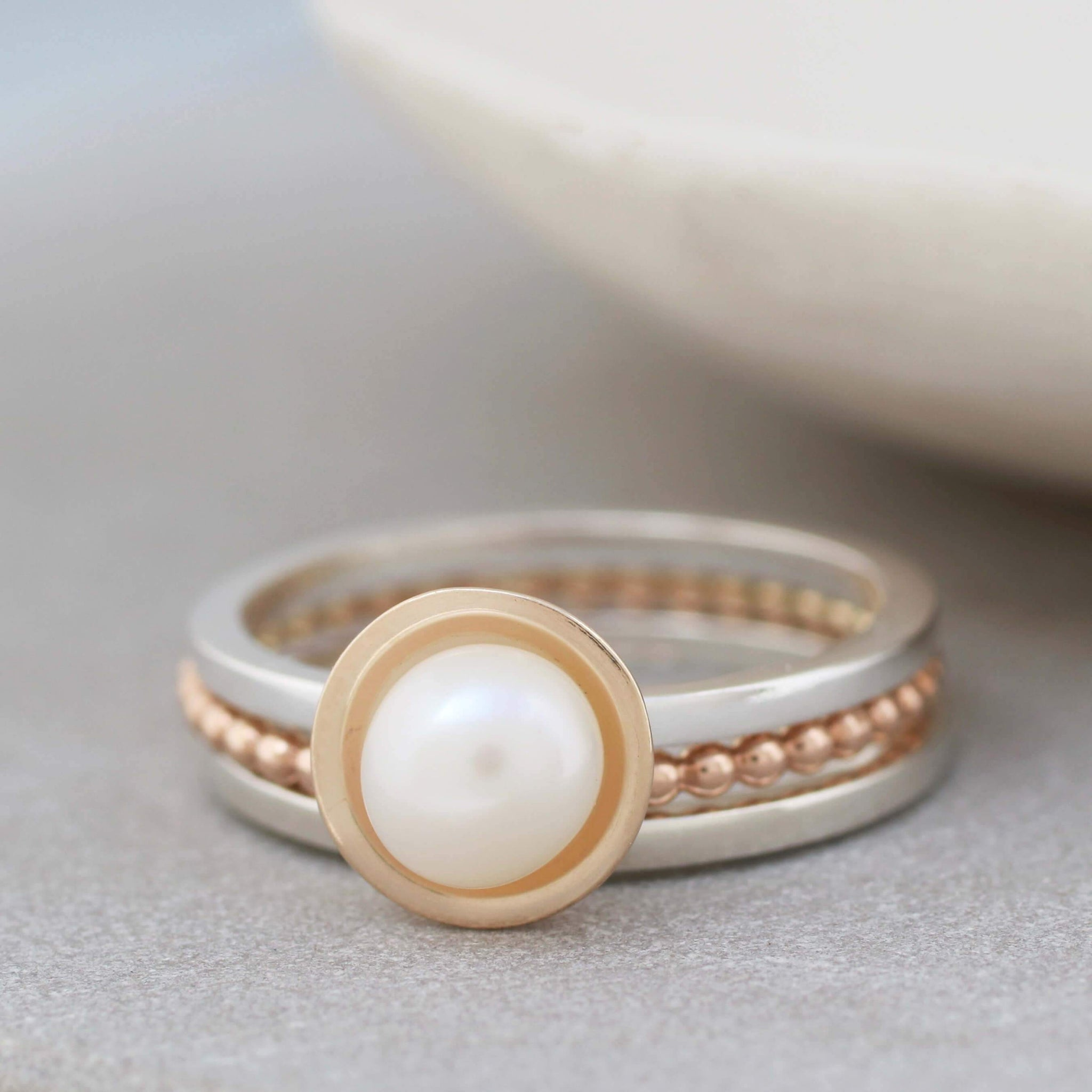 stackable pearl ring