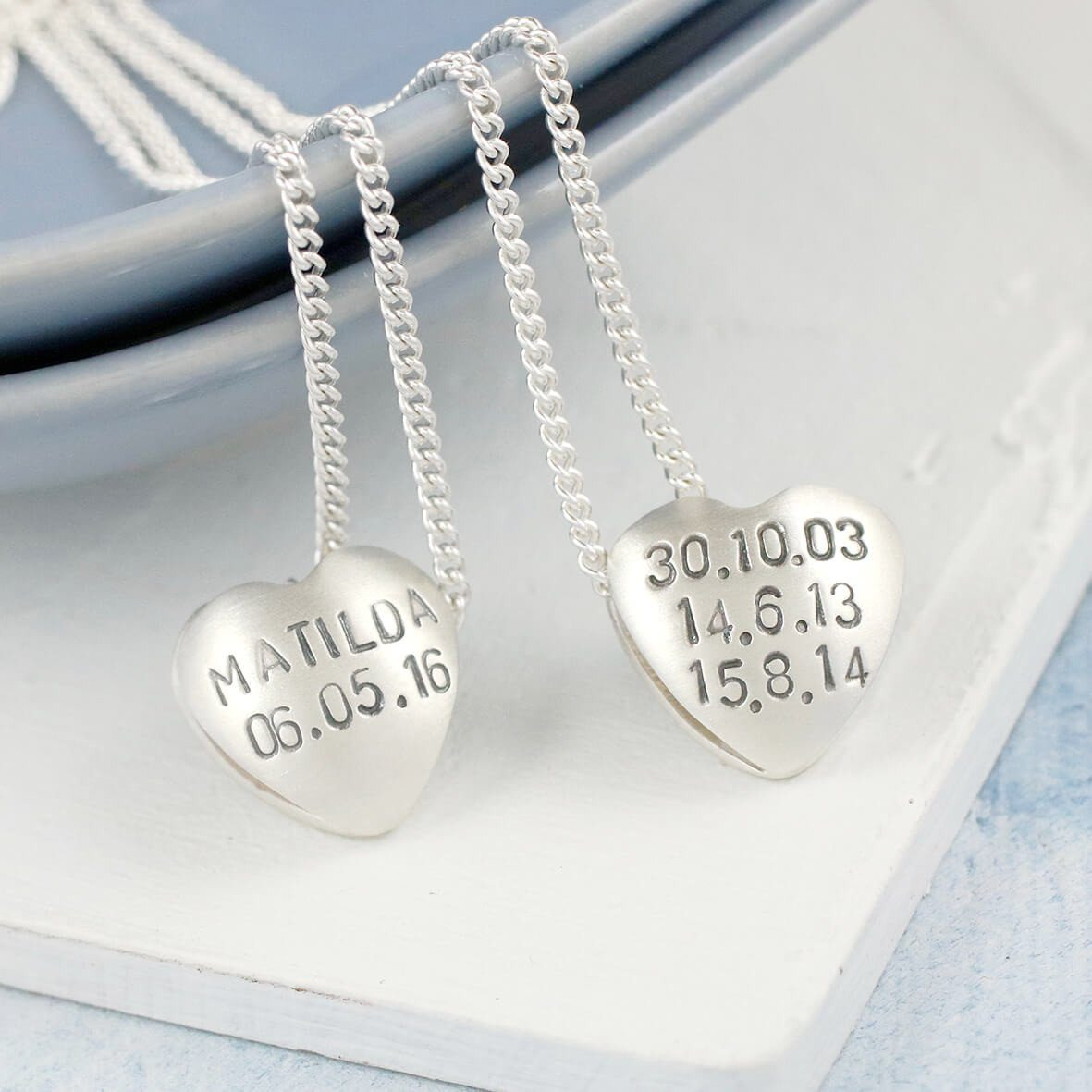 Personalised Silver Heart Necklace