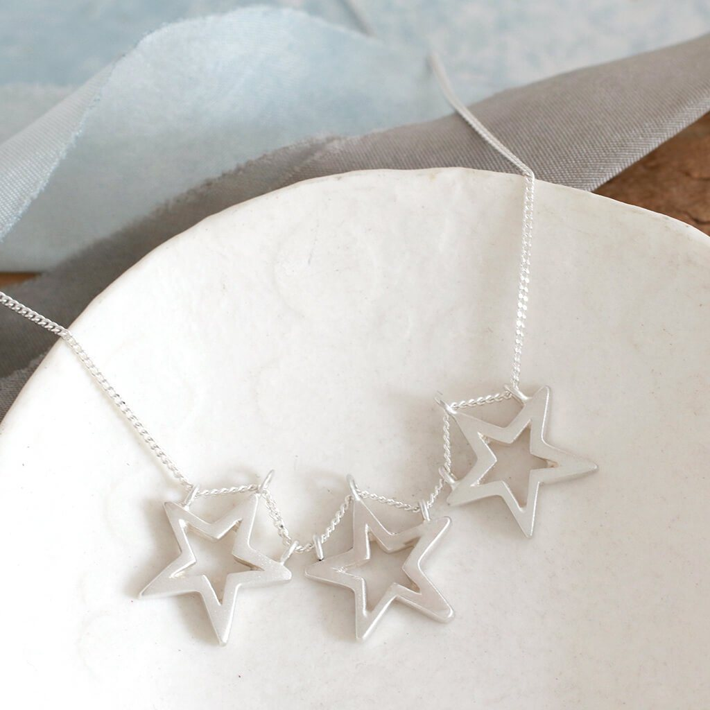 Three Star Necklace - Geometric Statement Necklace