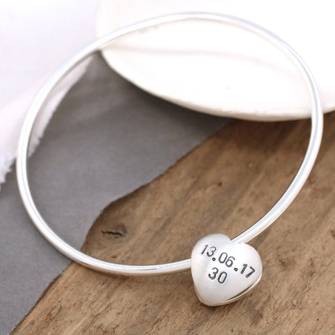 Personalised Silver Heart Spinning Bangle