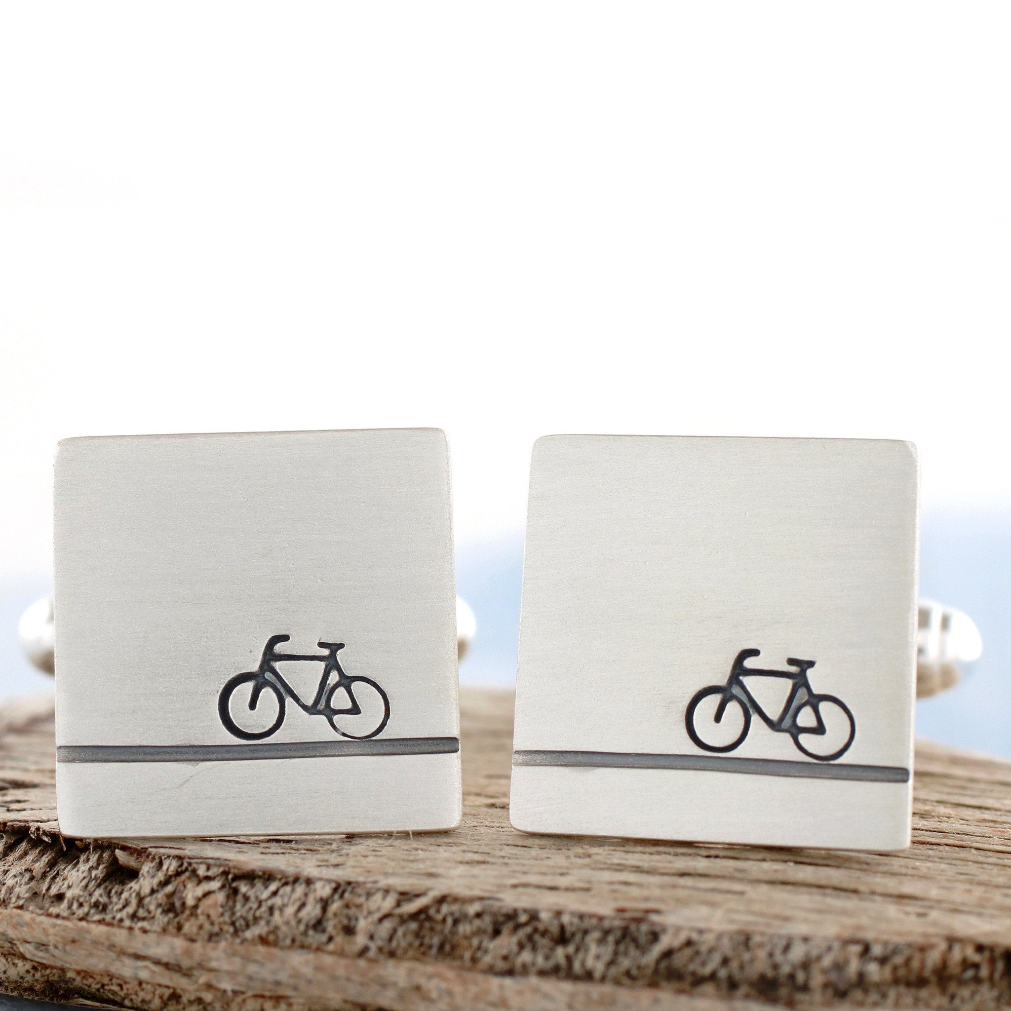 personalised silver bike cufflinks