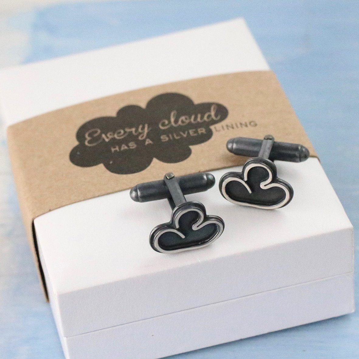 handmade every cloud has a silver lining cufflink