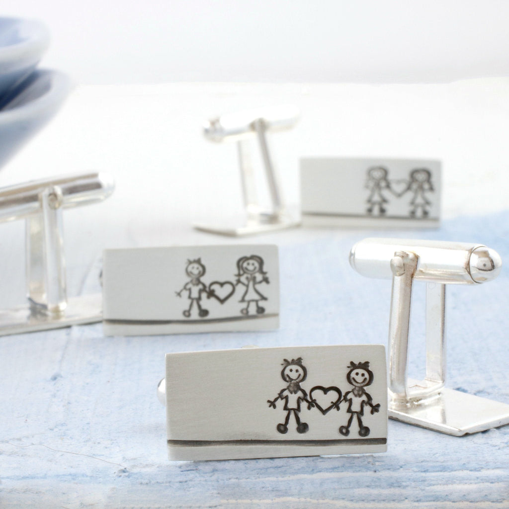 Silver 'Love Couple's' Valentine's Day Cufflinks