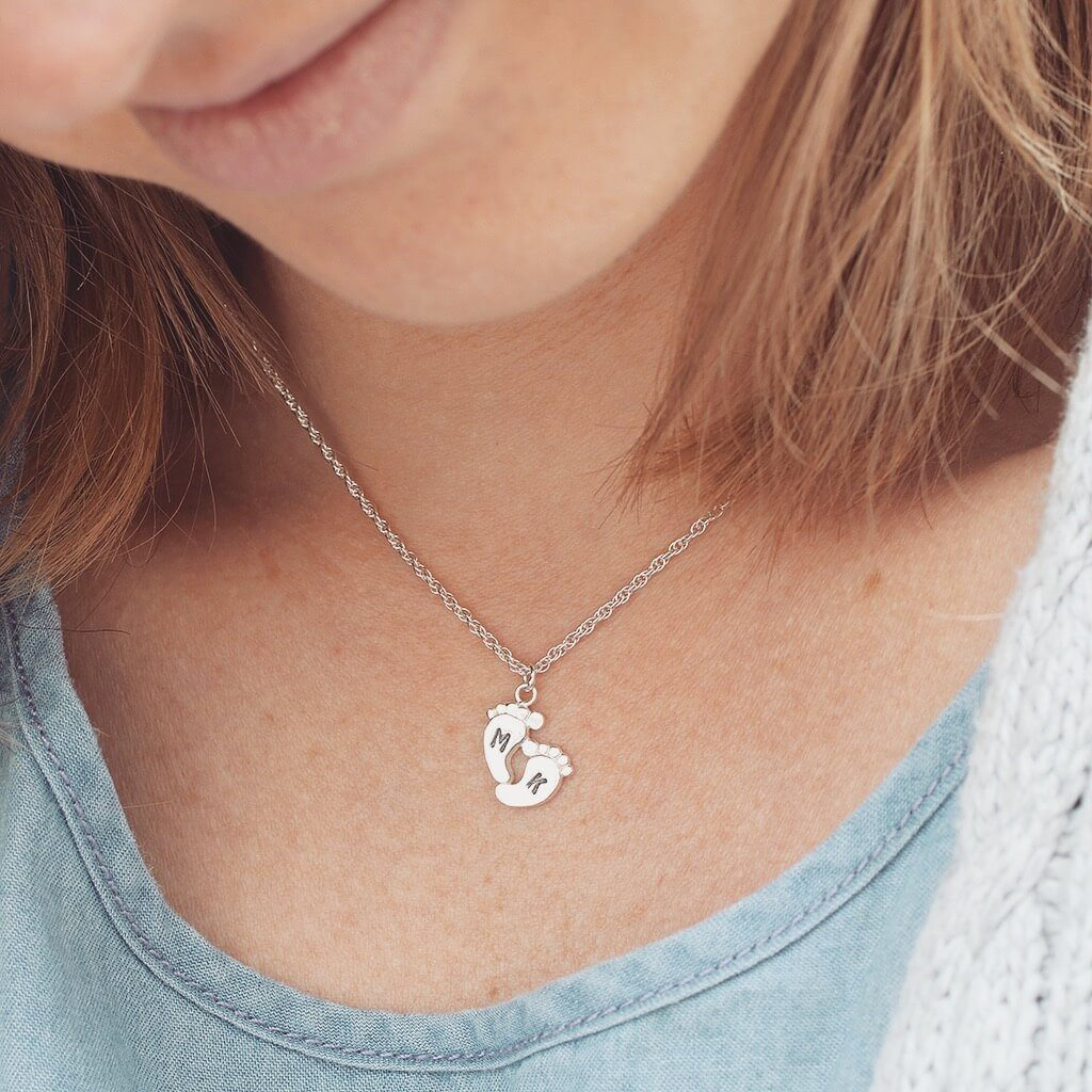 New Mum Foot Print Personalised Necklace