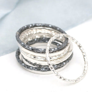 oxidised black stacking rings