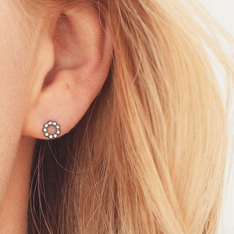 Tiny sterling silver stud earrings - Polka dot circles